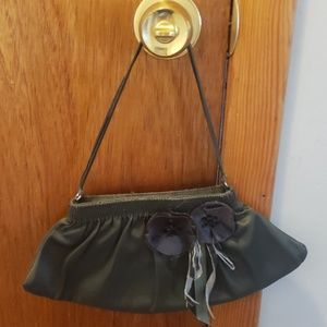 Green Satin evening bag with flower detail